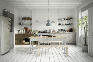 رندر آشپزخانه مینیمال مدرن اسکاندیناوی میز صبحانه چوبی وسایل آشپزخانه کابینت چوب A7AI4303