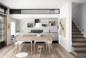 رندر آشپزخانه مینیمال مدرن میز مدرن چوب گاز رو میزی آباژور A7AI4305