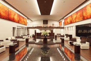 رندر لابی هتل سالن انتظار رستوران کافی شاپ مدرن مبلمان ال رسپشن آسناسور A7AI4401