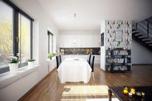 رندر آشپزخانه مدرن میز غذاخوری کف پارکت رندر اتاق نشیمن مدرن مبل ال A7AI4508