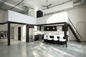 رندر خانه کامل مدرن مینیمال آشپزخانه اپن خانه دوبلکس A7AI4602
