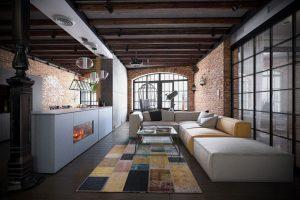 رندر خانه فلت استودیو محل زندگی مبل چرم فرش دیوار آجر A7AI4603