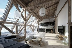 رندر خانه شیروانی چوب مدرن مینیمال آشپزخانه مدرن مبل ال A7AI4801