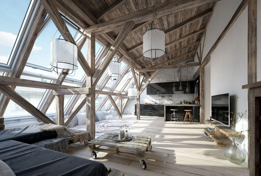 رندر خانه شیروانی چوب