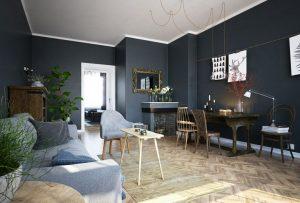 رندر خانه اسکاندیناوی مدرن مینیمال کف پارکت میز مطالعه چوب آیینه استیل چراغ مطالعه A7AI4802