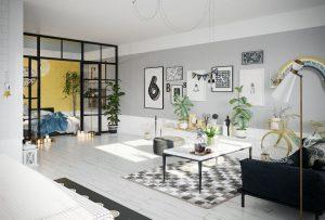 رندر اتاق نشیمن مدرن مینیمال اسکاندیناوی فرش دکوراسیون مدرن پارکت A7AI4803