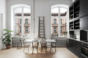 رندر آشپزخانه مینیمال مدرن پنجره بلند آشگزخانه اسکاندیناوی کف پارکت فانوس A7AI4807
