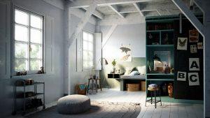 رندر اتاق خواب مینیمال مدرن کف پارکت کوسن مبل آباژور وسایل تزئینی A7AI4808