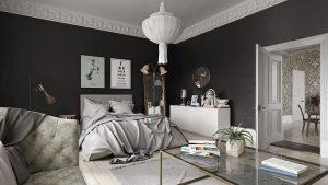 رندر اتاق خواب مدرن آباژور فرش آیینه قدی نور پردازی روز A7AI4809