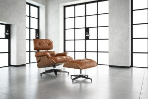 رندر استودیو عکسبرداری کلوزاپ صندلی چرم راحت تک A7AI4915
