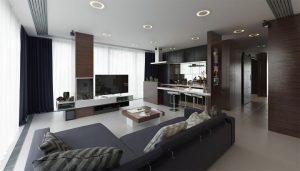 رندر خانه مینیمال مدرن کف سنگ آشپزخانه مدرن تلویزیون ال ای دی اتاق خواب مجسمه برنزی کاکتوس شمع A7AI5004