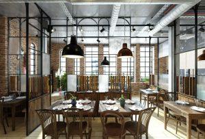 رندر رستوران کافی شاپ میز صندلی چوب مبل دیوار آجر A7AI5202