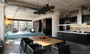 رندر خانه فلت آشپزخانه نشیمن میز غذاخوری مدرن مینیمال A7AI5410