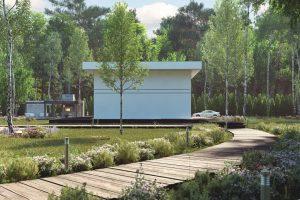 دانلود رندر ویلا وسط جنگل درخت راه چوبی باغچه نورپردازی روز ZA6AE2603