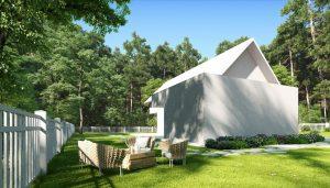 دانلود رندر ویلا درخت چمن باغچه حیاط راه سنگی نورپردازی روز صندلی حصیری راحتی ZA6AE2605