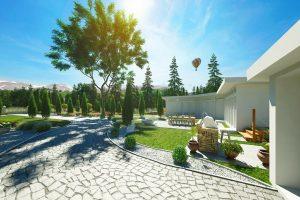 دانلود رندر ویلا سنگفرش درخت کاج باغچه شمشاد بالون جنگل کوه نور پردازی روز ZA6AE2609