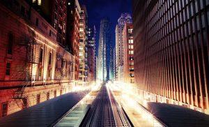 دانلود رندر نورپردازی شب شهر خیابان شهر ساختمان قدیمی راه آهن وسط شهر راه پله فرار ZA6AE2806
