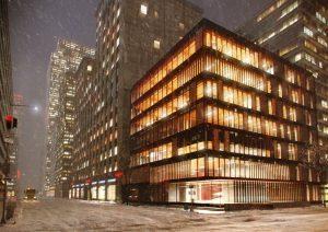 دانلود رندر نورپردازی شب برفی شهر خیابان ساختمان مدرن شیشه ای ZA6AE2809