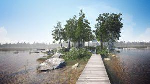 دانلود رندر ویلا درخت دریاچه جزیره ZA6AE3004