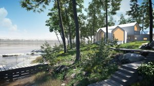 دانلود رندر ویلا درخت دریاچه جزیره چمن سنگ ZA6AE3004