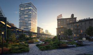 رندر پارک نور پردازی روز رندر ساختمان مسکونی بلند ZA6AE3306
