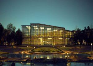 رندر نور پردازی غروب شرکت بزرگ خارج شهر رندر لندسکیپ پارک فضای سبز ZA6AE3310