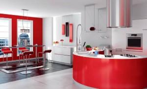 صحنه آشپزخانه مدرن هود گاز صندلی کانتر لوستر گلدان سینک فر دیواری قابلمه لیوان چاقو کارد مدل آماده رندر | A7AI0105