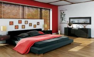 صحنه اتاق خواب چینی ژاپنی تخت تختخواب آباژور قاب عکس مدل آماده رندر | A7AI0106