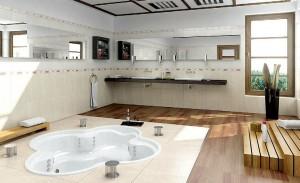 صحنه حمام دستشویی وان روشویی آیینه حوله شامو مدل آماده رندر | A7AI0107