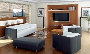 صحنه اتاق تلویزیون مبل راحتی عسلی شید کرکره گلدان قاب عکس مدل آماده رندر   A7AI0108
