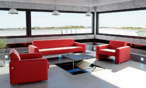 صحنه لابی هتل کافی شاپ مبل میز گلدان مدل آماده رندر | A7AI0109