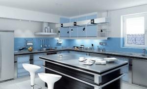 صحنه آشپزخانه مدرن صندلی کانتر وسایل آشپزخانه کتری یخچال مدل آماده رندر | A7AI0110