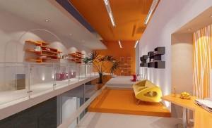 صحنه اداری تبلیغاتی نمایشگاهی مبل گلدان مدل آماده رندر | A7AI0202