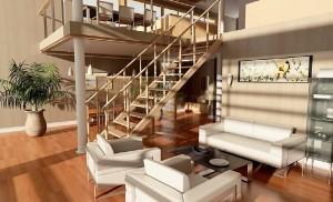 صحنه منزل اتاق پذیرایی مبل پله چوبی پارکت کفپوش مدل آماده رندر | A7AI0203