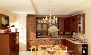 صحنه آشپزخانه چوبی کلاسیک تیره کابینت استیل میز غذاخوری صندلی لوستر مدل آماده رندر   A7AI0205