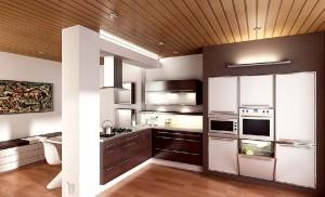 صحنه آشپزخانه مدرن اپن گاز هود تابلو مدل آماده رندر | A7AI0206