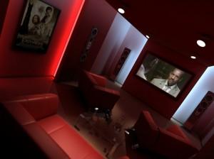 صحنه اتاق نمایش تلویزیون منزل خانه سینمای خانگی مبل راحتی مدل آماده رندر   A7AI0303