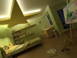 صحنه اتاق خواب تخت تختخواب میز مطالعه بوم نقاشی مدل آماده رندر | A7AI0304