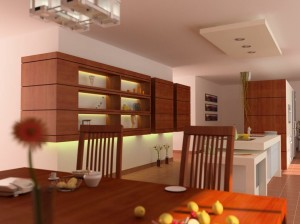 صحنه آشپزخانه منزل میز غذاخوری صندلی گل ژرورا گلدان مدل آماده رندر   A7AI0306