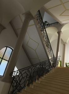صحنه راه پله منزل خانه ستون بلند معماری کلاسیک مدل آماده رندر | A7AI0307