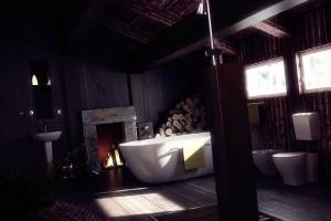صحنه دستشویی حمام وان دوش توالت فرنگی بیده شومینه هیزم مدل آماده رندر | A7AI0401