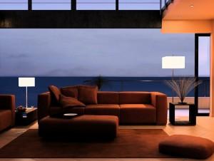 صحنه اتاق هتل پذیرایی نشیمن مبل ال راحتی آباژور فرش مدل آماده رندر | A7AI0404