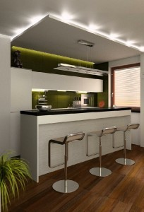 صحنه آشپزخانه صندلی کانتر مایکروویو یخچال فریزر مدل آماده رندر | A7AI0408
