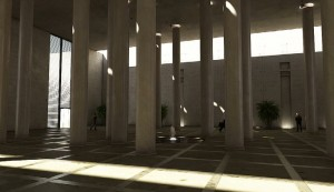 صحنه فضای عمومی ستون بلند حوض فواره درختچه مدل آماده رندر | A7AI0503