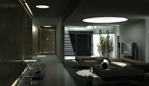 صحنه اتاق انتظار اداری مبل راحتی تلویزیون درختچه تزئینی ساعت دیواری مدل آماده رندر | A7AI0504