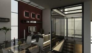 صحنه اتاق تلویزیون خانه منزل سینمای خانگی مبل راحتی میز غذاخوری صندلی پله گلدان کف پارکت لمینت مدل آماده رندر | A7AI0507