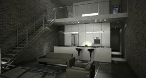 صحنه آشپزخانه اپن صندلی کانتر مبلمان پذیرایی فر دیواری یخچال فریزر پله مدل آماده رندر | A7AI0508