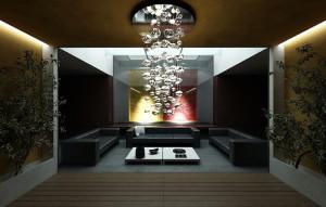 صحنه اتاق انتظار هتل اداری لوستر درختچه تزئینی مبلمان مدل آماده رندر | A7AI0509