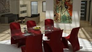 صحنه اتاق غذاخوری میز ناهارخوری منزل خانه تابلو مدرن مبلمان پذیرایی مدرن صندلی میز شیشه ای مدل آماده رندر | A7AI0510