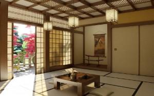 صحنه دکوراسیون چینی ژاپنی اتاق پذیرایی لوستر شمشیر فضای داخلی منزل خانه مدل آماده رندر | A7AI0601